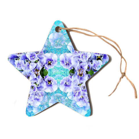 "Suzanne Carter ""Lilac"" Black Floral Abstract Digital Mixed Media Star Holiday Ornament"