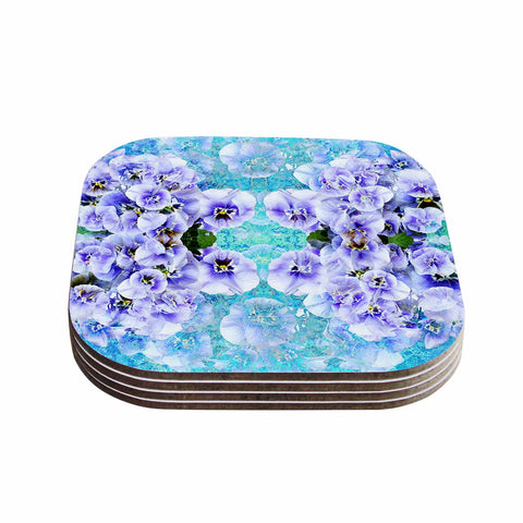 "Suzanne Carter ""Lilac"" Black Floral Abstract Digital Mixed Media Coasters (Set of 4)"
