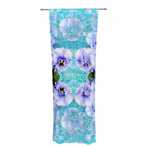"Suzanne Carter ""Lilac"" Black Floral Abstract Digital Mixed Media Decorative Sheer Curtain"