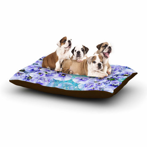 "Suzanne Carter ""Lilac"" Black Floral Abstract Digital Mixed Media Dog Bed"