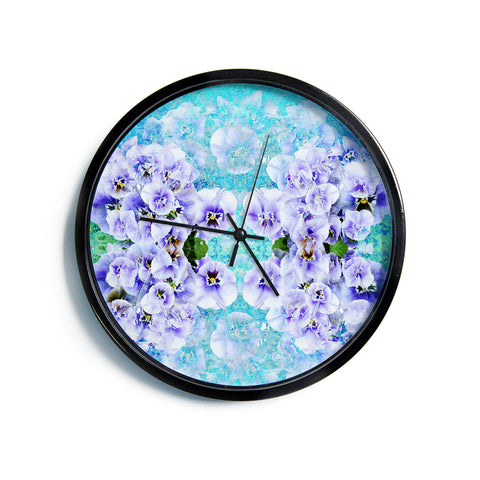 "Suzanne Carter ""Lilac"" Black Floral Abstract Digital Mixed Media Modern Wall Clock"