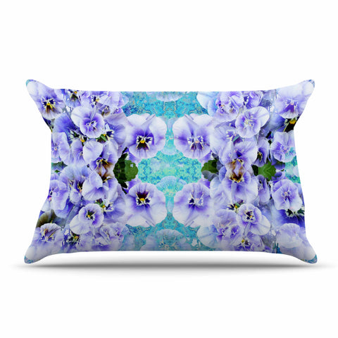 "Suzanne Carter ""Lilac"" Black Floral Abstract Digital Mixed Media Pillow Sham"