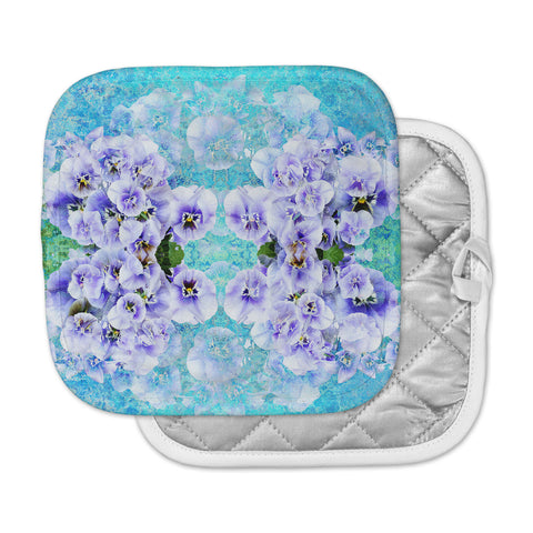 "Suzanne Carter ""Lilac"" Black Floral Abstract Digital Mixed Media Pot Holder"