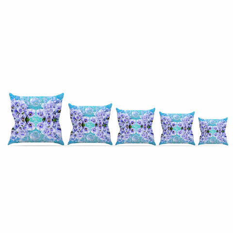 "Suzanne Carter ""Lilac"" Black Floral Abstract Digital Mixed Media Outdoor Throw Pillow"