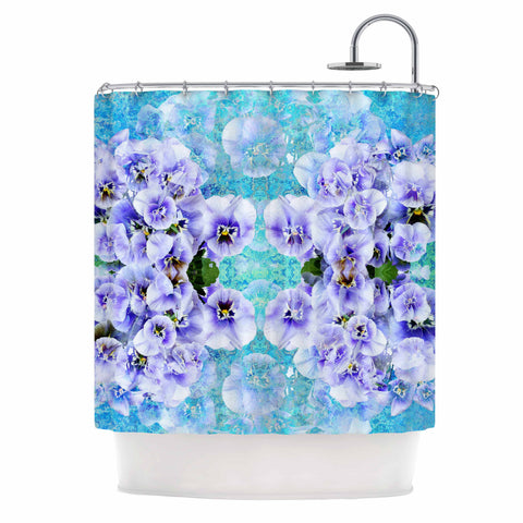 "Suzanne Carter ""Lilac"" Black Floral Abstract Digital Mixed Media Shower Curtain"