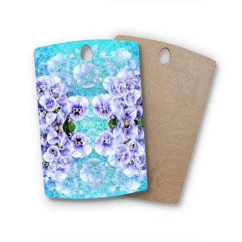 "Suzanne Carter ""Lilac"" Black Floral Abstract Digital Mixed Media Rectangle Wooden Cutting Board"