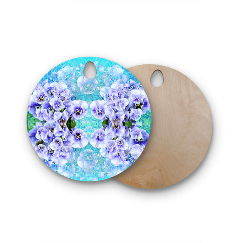 "Suzanne Carter ""Lilac"" Black Floral Abstract Digital Mixed Media Round Wooden Cutting Board"