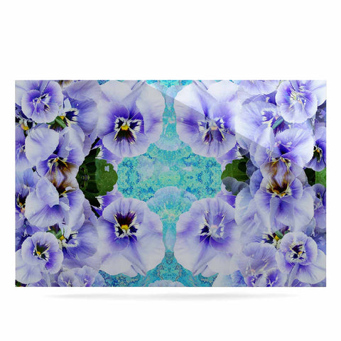 "Suzanne Carter ""Lilac"" Black Floral Abstract Digital Mixed Media Luxe Rectangle Panel"