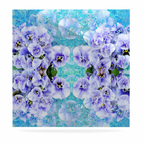 "Suzanne Carter ""Lilac"" Black Floral Abstract Digital Mixed Media Luxe Square Panel"