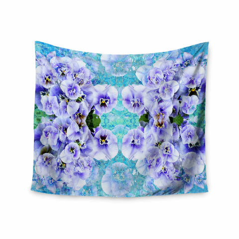 "Suzanne Carter ""Lilac"" Black Floral Abstract Digital Mixed Media Wall Tapestry"