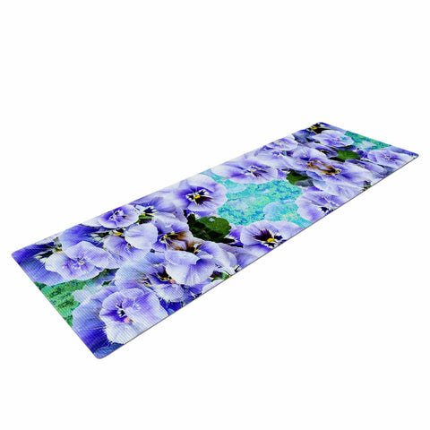 "Suzanne Carter ""Lilac"" Black Floral Abstract Digital Mixed Media Yoga Mat"