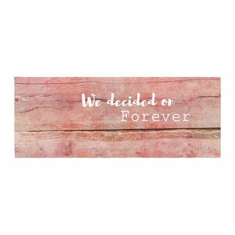 "Suzanne Carter ""Forever"" Black Typography Contemporary Digital Mixed Media Bed Runner"