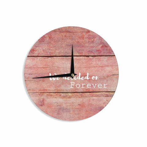"Suzanne Carter ""Forever"" Black Typography Contemporary Digital Mixed Media Wall Clock"