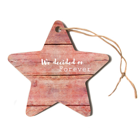 "Suzanne Carter ""Forever"" Black Typography Contemporary Digital Mixed Media Star Holiday Ornament"