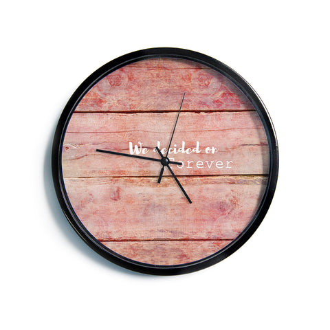 "Suzanne Carter ""Forever"" Black Typography Contemporary Digital Mixed Media Modern Wall Clock"
