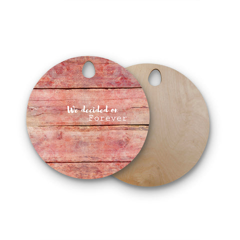 "Suzanne Carter ""Forever"" Black Typography Contemporary Digital Mixed Media Round Wooden Cutting Board"