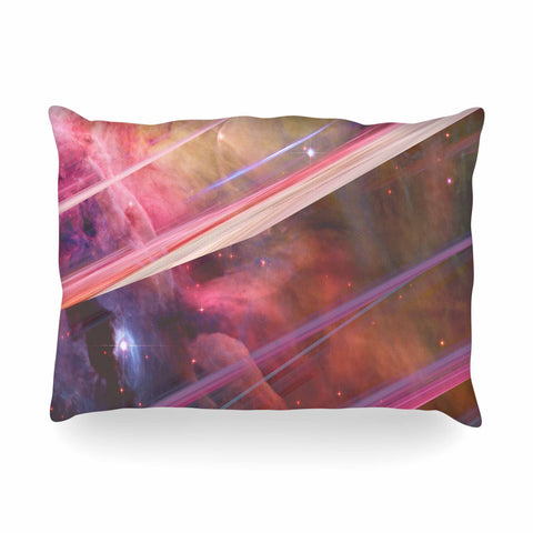 "Suzanne Carter ""Twisted Nebula"" Black Celestial Stripes Digital Mixed Media Oblong Pillow"