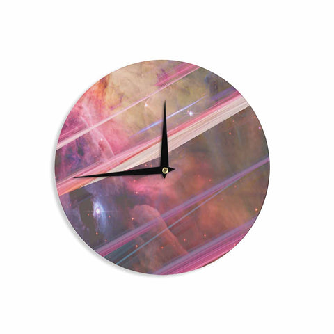 "Suzanne Carter ""Twisted Nebula"" Black Celestial Stripes Digital Mixed Media Wall Clock"