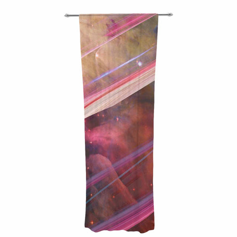 "Suzanne Carter ""Twisted Nebula"" Black Celestial Stripes Digital Mixed Media Decorative Sheer Curtain"