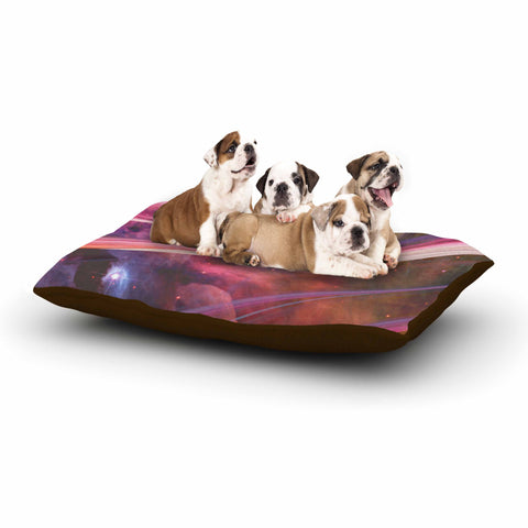 "Suzanne Carter ""Twisted Nebula"" Black Celestial Stripes Digital Mixed Media Dog Bed"