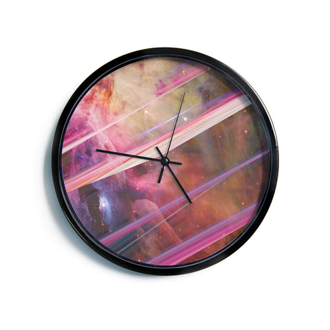 "Suzanne Carter ""Twisted Nebula"" Black Celestial Stripes Digital Mixed Media Modern Wall Clock"