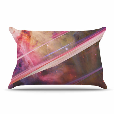 "Suzanne Carter ""Twisted Nebula"" Black Celestial Stripes Digital Mixed Media Pillow Sham"