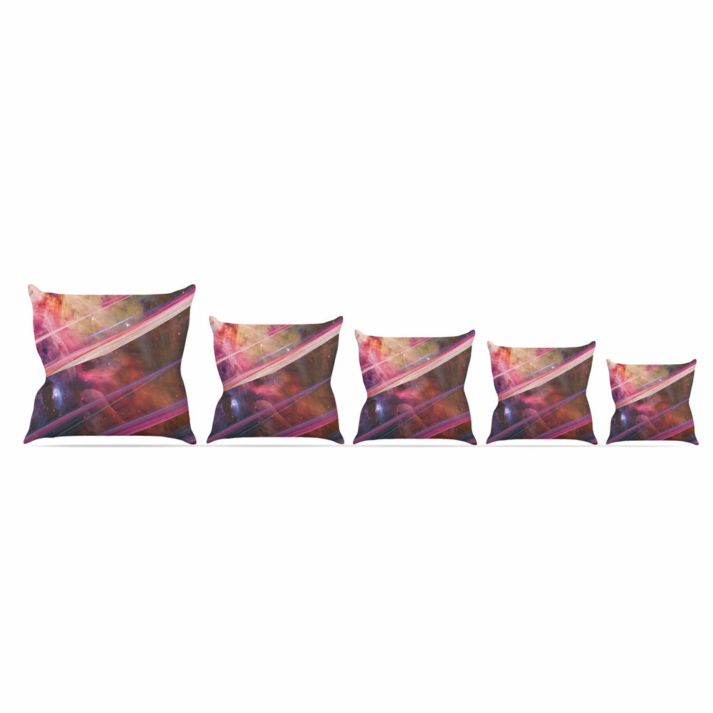 "Suzanne Carter ""Twisted Nebula"" Black Celestial Stripes Digital Mixed Media Outdoor Throw Pillow"