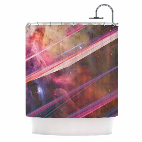 "Suzanne Carter ""Twisted Nebula"" Black Celestial Stripes Digital Mixed Media Shower Curtain"
