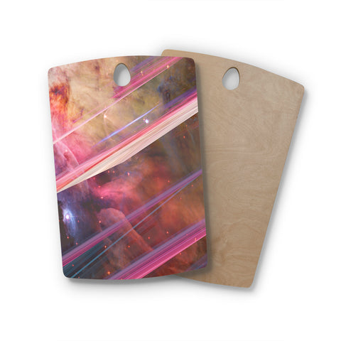 "Suzanne Carter ""Twisted Nebula"" Black Celestial Stripes Digital Mixed Media Rectangle Wooden Cutting Board"