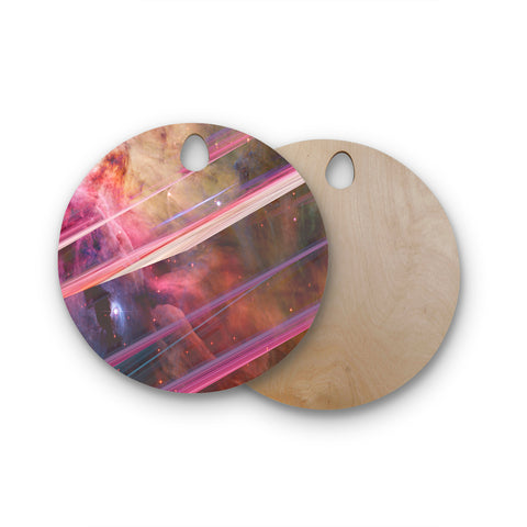 "Suzanne Carter ""Twisted Nebula"" Black Celestial Stripes Digital Mixed Media Round Wooden Cutting Board"