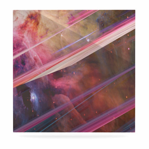 "Suzanne Carter ""Twisted Nebula"" Black Celestial Stripes Digital Mixed Media Luxe Square Panel"