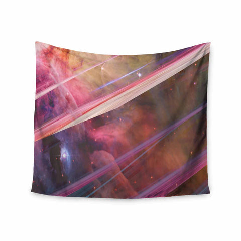 "Suzanne Carter ""Twisted Nebula"" Black Celestial Stripes Digital Mixed Media Wall Tapestry"