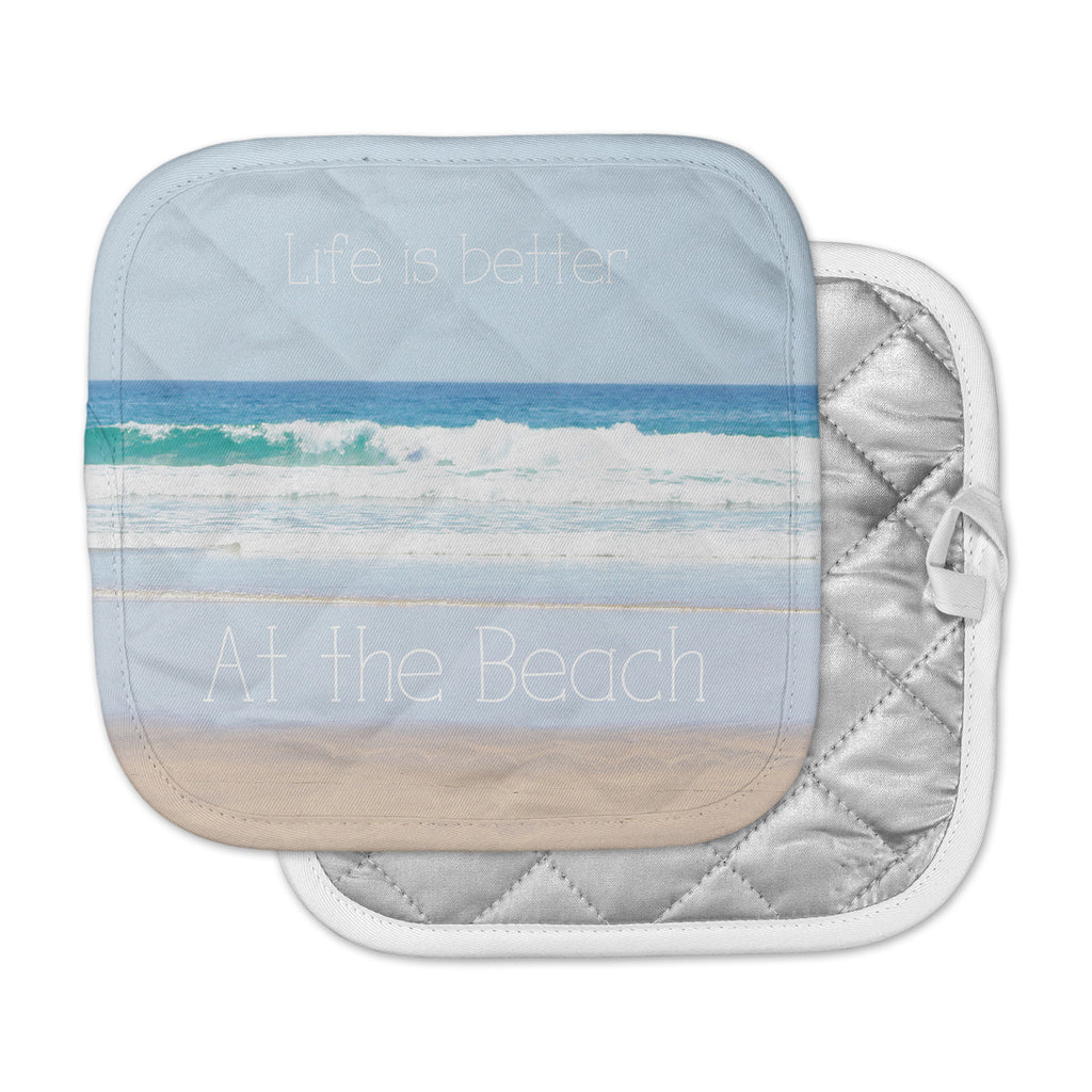 "Sylvia Coomes ""Life Is Better At The Beach"" Tan Blue Pot Holder"