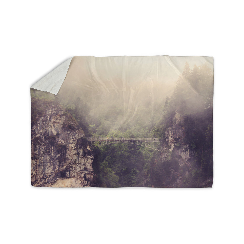 "Sylvia Coomes ""Foggy Mountain Landscape"" Brown Green Sherpa Blanket - KESS InHouse  - 1"
