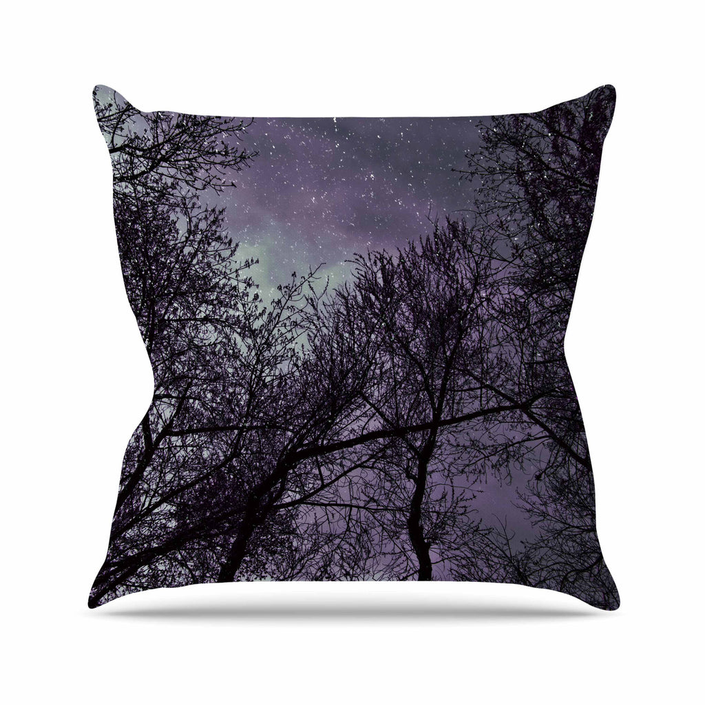 "Sylvia Coomes ""Purple Sky"" Lavender Black Outdoor Throw Pillow - KESS InHouse  - 1"
