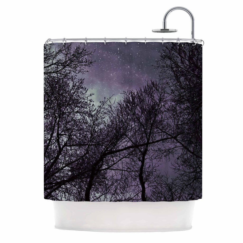 "Sylvia Coomes ""Purple Sky"" Lavender Black Shower Curtain - KESS InHouse"