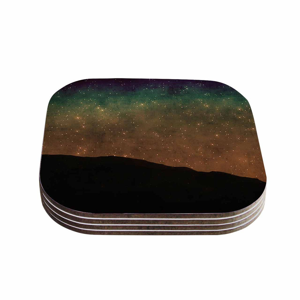 "Sylvia Coomes ""Star Light"" Teal Brown Coasters (Set of 4)"