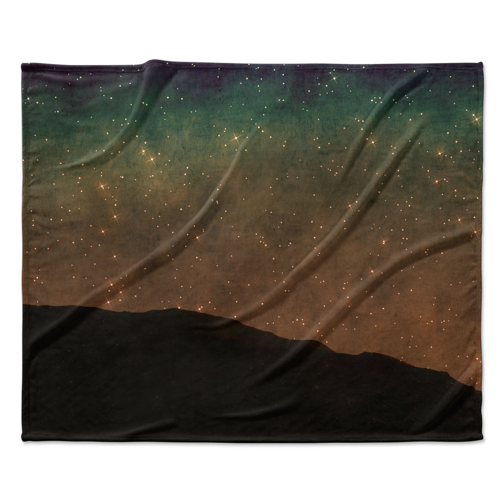 "Sylvia Coomes ""Star Light"" Teal Brown Fleece Throw Blanket"