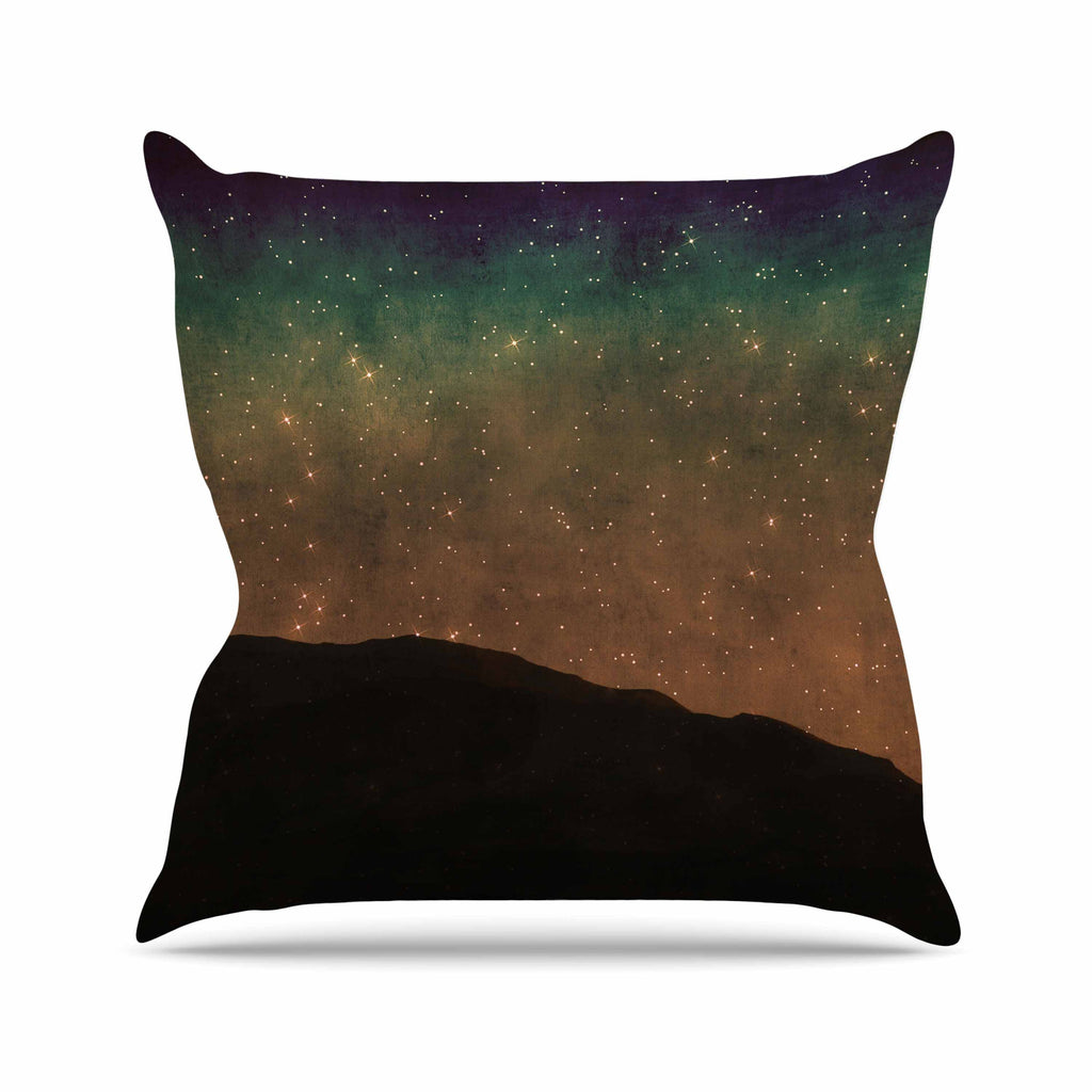 "Sylvia Coomes ""Star Light"" Teal Brown Outdoor Throw Pillow - KESS InHouse  - 1"