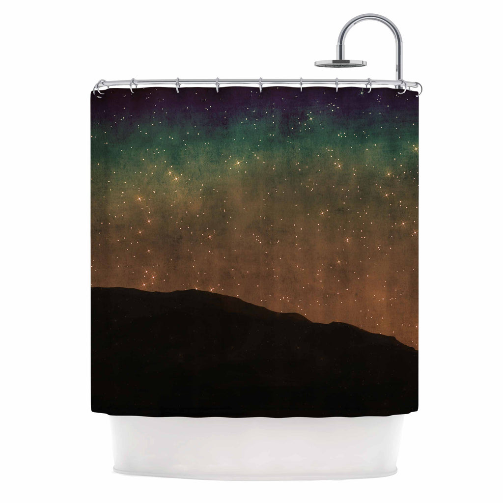 "Sylvia Coomes ""Star Light"" Teal Brown Shower Curtain - KESS InHouse"