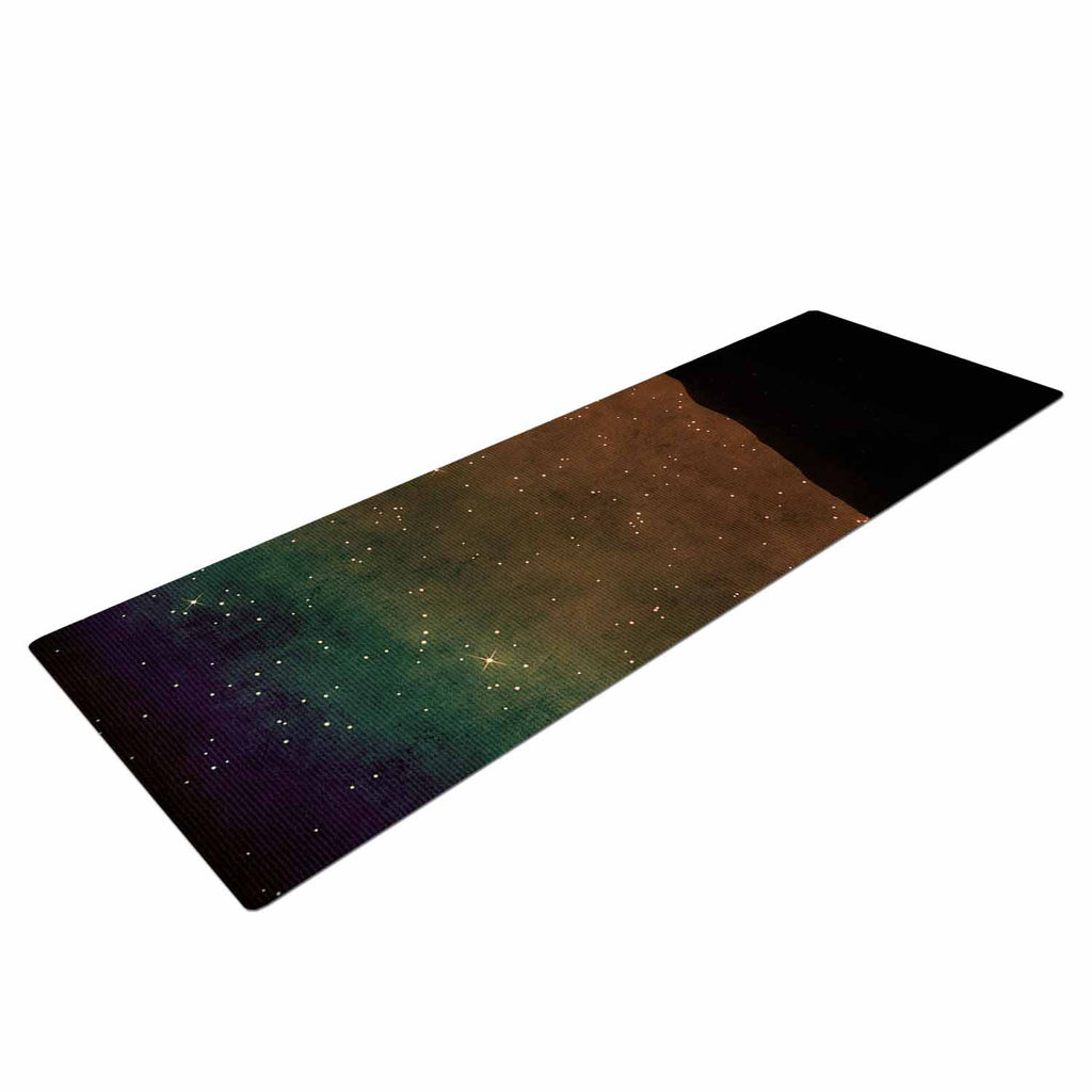 "Sylvia Coomes ""Star Light"" Teal Brown Yoga Mat - KESS InHouse  - 1"