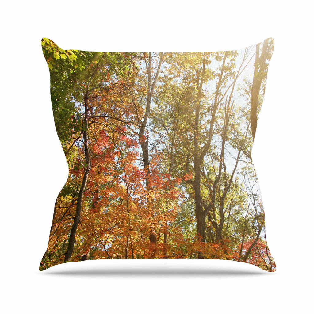 "Sylvia Coomes ""Autumn Trees 1"" Green Orange Outdoor Throw Pillow - KESS InHouse  - 1"