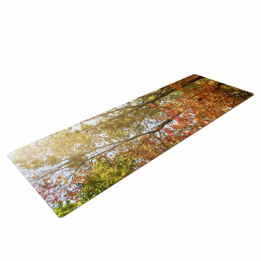 "Sylvia Coomes ""Autumn Trees 1"" Green Orange Yoga Mat - KESS InHouse  - 1"