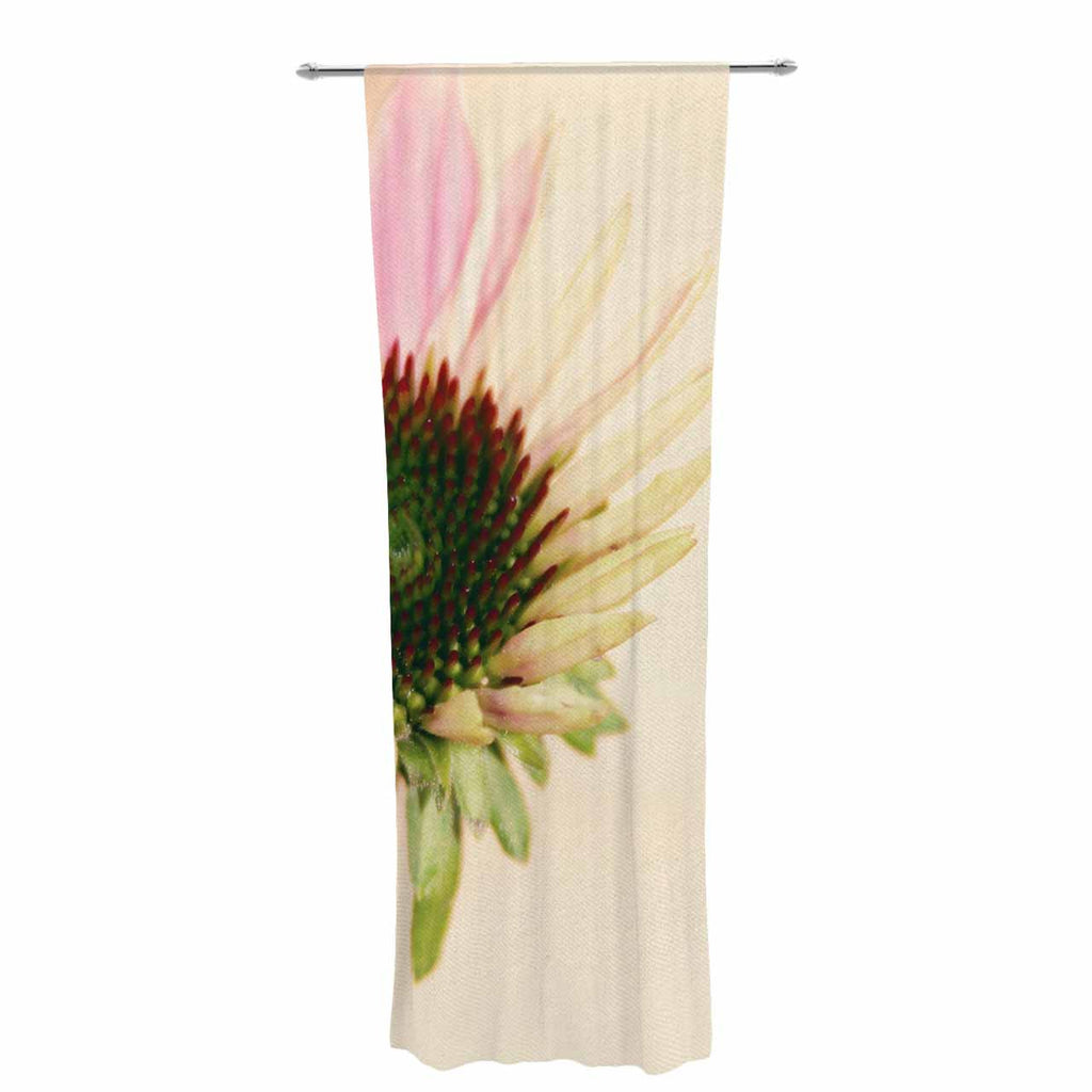 "Sylvia Coomes ""Pink And Yellow Flower"" Blush Floral Decorative Sheer Curtain - KESS InHouse  - 1"