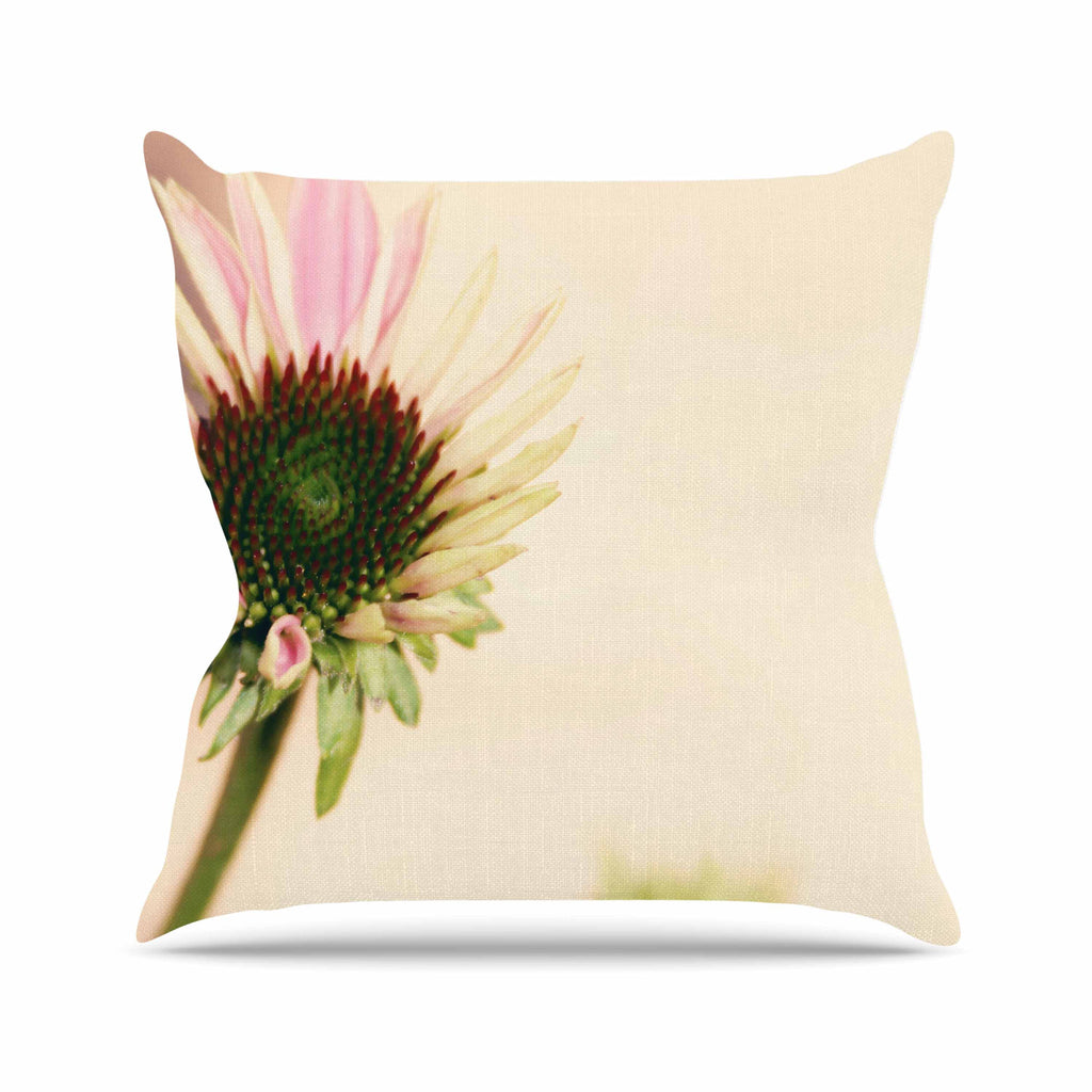 "Sylvia Coomes ""Pink And Yellow Flower"" Blush Floral Outdoor Throw Pillow - KESS InHouse  - 1"