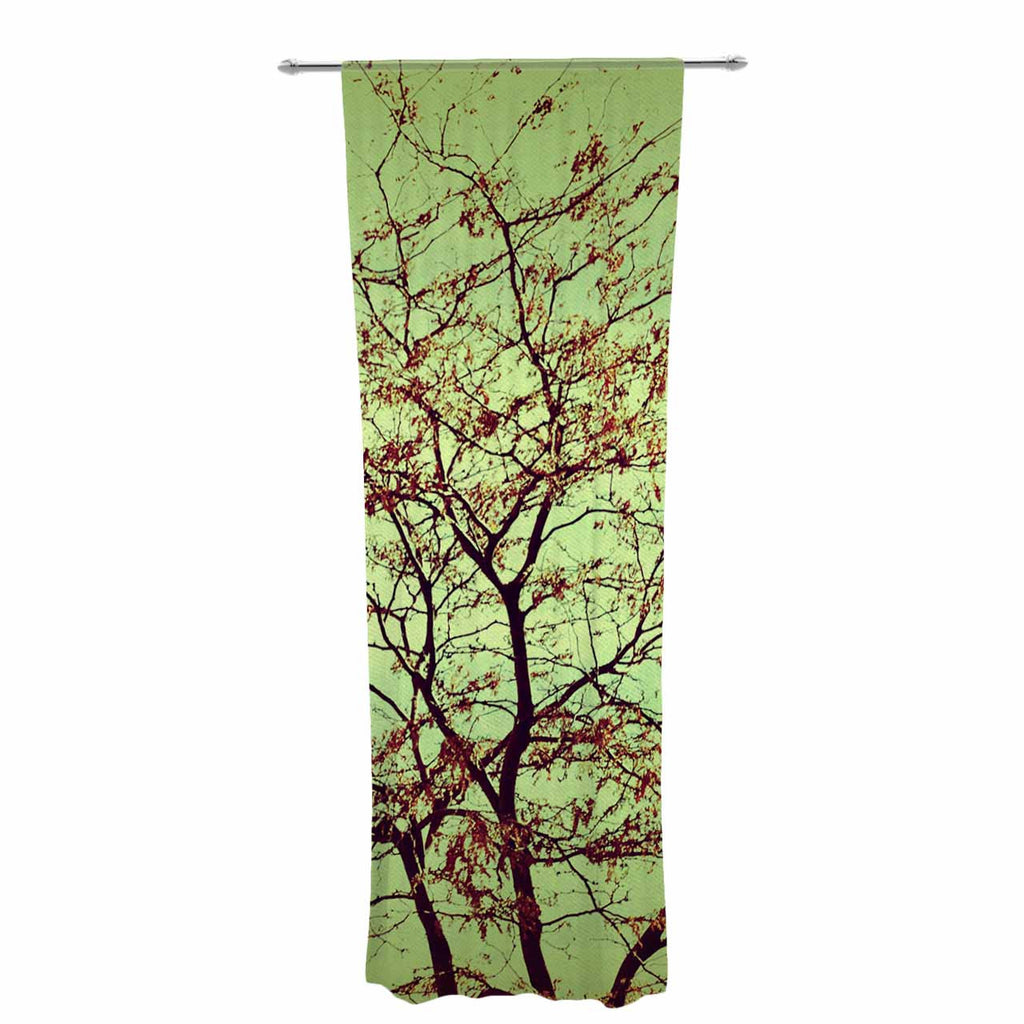 "Sylvia Coomes ""Modern Fall Tree"" Green Brown Decorative Sheer Curtain - KESS InHouse  - 1"
