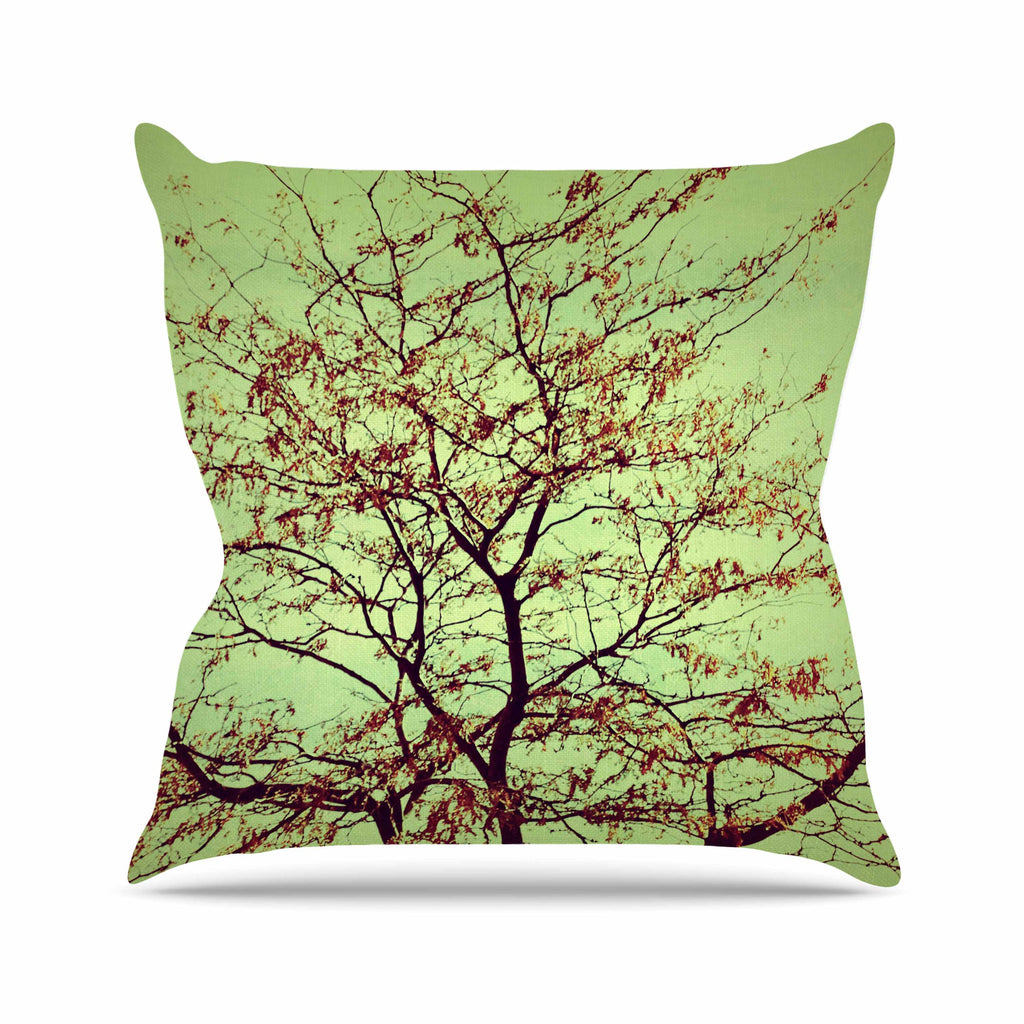 "Sylvia Coomes ""Modern Fall Tree"" Green Brown Outdoor Throw Pillow - KESS InHouse  - 1"