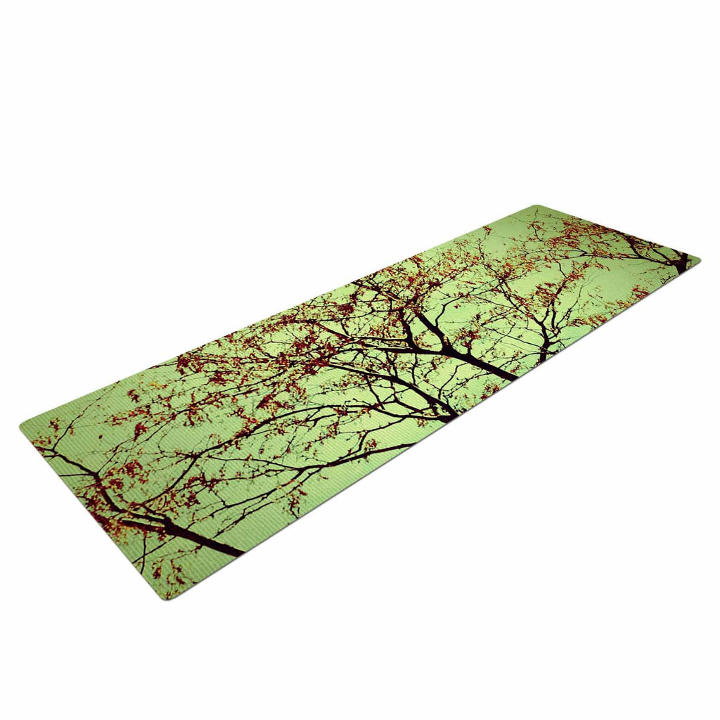 "Sylvia Coomes ""Modern Fall Tree"" Green Brown Yoga Mat - KESS InHouse  - 1"