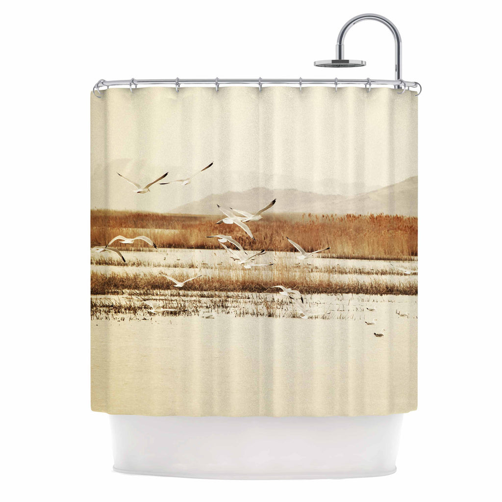 "Sylvia Coomes ""Nautical Flight"" Tan Brown Shower Curtain - KESS InHouse"