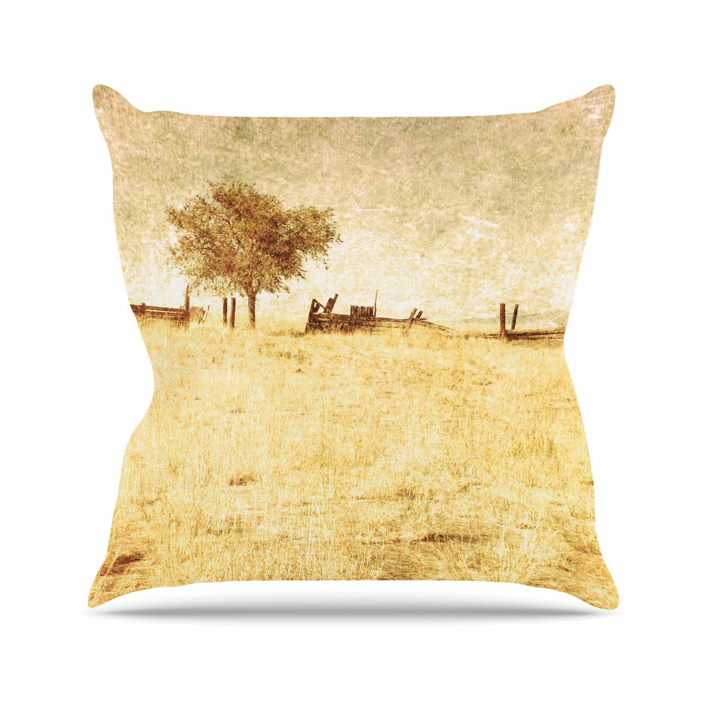"Sylvia Coomes ""One Tree"" Brown Tan Throw Pillow - KESS InHouse  - 1"